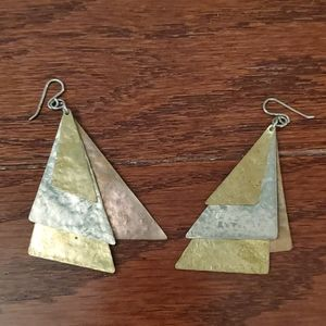 Hammered brass statement triangle earrings